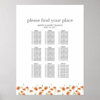 野生のケシの結婚式夕食の座席の図表 ポスター