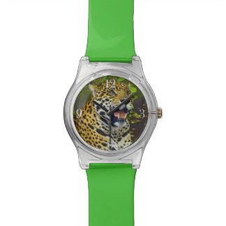 野生のジャガーによって斑点を付けられるヒョウの動物愛好家 腕時計