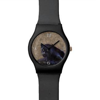 野生のジャガーのブラックパンサーの大きな猫 腕時計