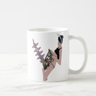 野生のチェーンソーの幸せで良いおもしろいの女の子 コーヒーマグカップ