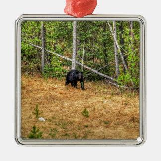 野生のツキノワグマ及びユーコン準州の森林写真の芸術 メタルオーナメント