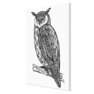 野生のトーテムの動物のフクロウの落書き6 キャンバスプリント