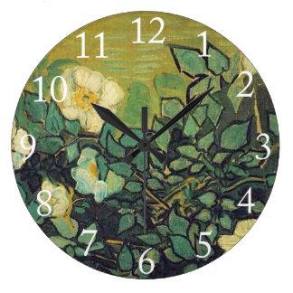 野生のバラ1890年。 フィンセント・ファン・ゴッホ。 ラージ壁時計