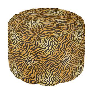 野生のヒョウ丈夫な回されたポリエステルラウンドパフ プーフ