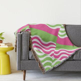 野生のピンクおよび緑 毛布