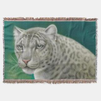 野生のユキヒョウの大きな猫の投球 毛布