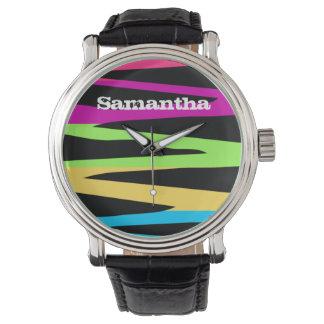 野生のレトロの虹はシマウマを縞で飾ります着色します 腕時計