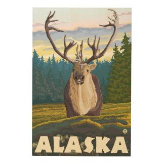 野生のヴィンテージ旅行のAlaskaCaribou ウッドウォールアート