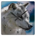 野生の一匹狼 スクエア壁時計