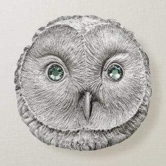 野生の事: フクロウのDécorの銀製のクッション ラウンドクッション