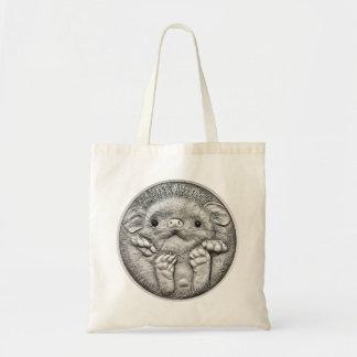 野生の事: 銀製のハリネズミの硬貨-トートバック トートバッグ