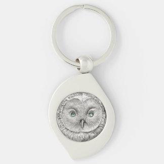 野生の事: 銀製のUralのフクロウの硬貨-キーホルダー キーホルダー