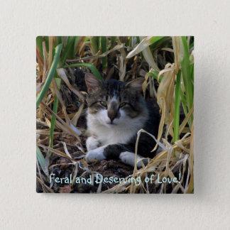 野生の子猫ボタン 5.1CM 正方形バッジ