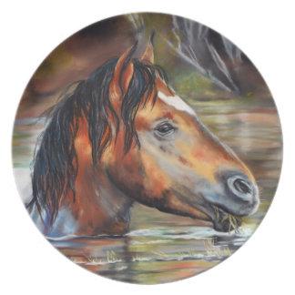 野生の川馬のディナー用大皿 プレート