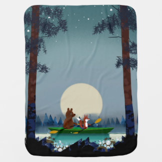 野生の森林川でカヤックを漕ぐことに耐え、孤色に変色させて下さい ベビー ブランケット