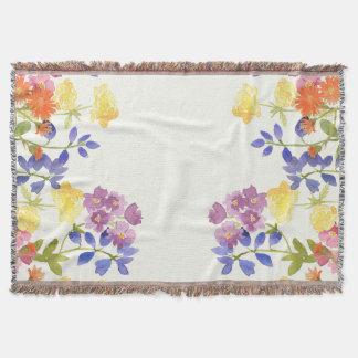 野生の水彩画によってはカラフルなフリンジ毛布が開花します スローブランケット