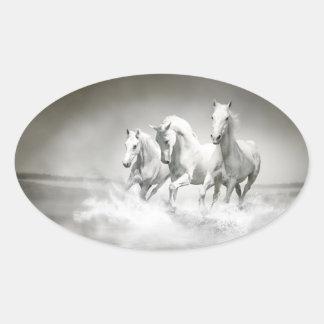 野生の白馬のステッカー 楕円形シール