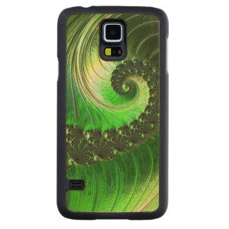 野生の素晴らしいフラクタルを驚かせる緑の螺線形の自然 CarvedメープルGalaxy S5スリムケース