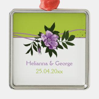 野生の紫色のバラの花の結婚式の緑の記念品 メタルオーナメント