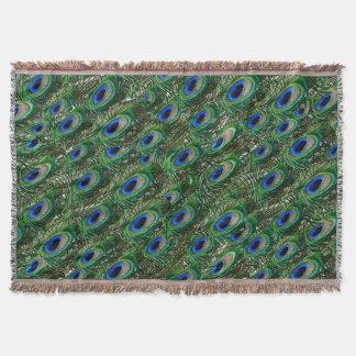 野生の緑の孔雀の羽 スローブランケット