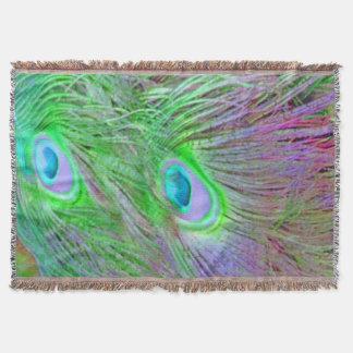 野生の緑の孔雀の羽 毛布