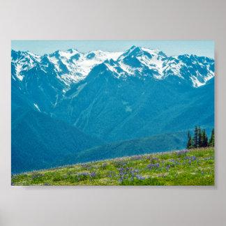 野生の花および山 ポスター