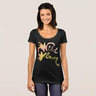 野生の花のカスタムな水彩画のTシャツ Tシャツ