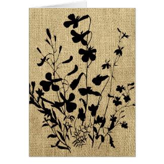 野生の花のシルエットのバーラップ グリーティングカード