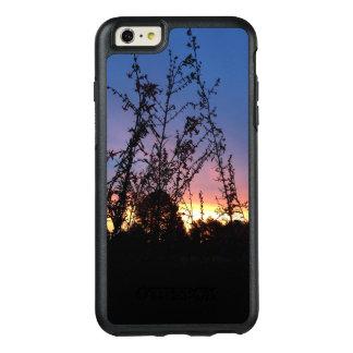野生の花のシルエットの茎間の日の出 オッターボックスiPhone 6/6S PLUSケース