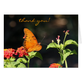 野生の花のマダラチョウ、ノートありがとう カード
