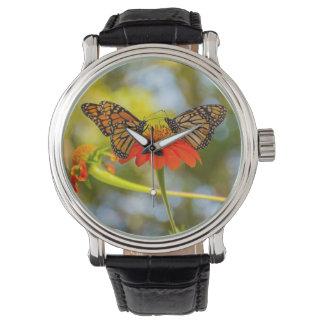 野生の花のマダラチョウ 腕時計