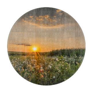 野生の花の日没の装飾的なガラスまな板 カッティングボード