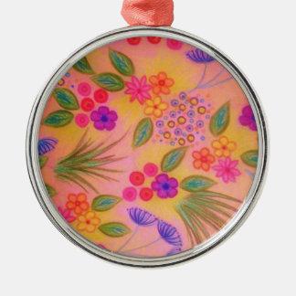 野生の花の空想2 -陽気なピンクの美しい花柄 メタルオーナメント
