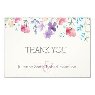 野生の花の素朴な花の結婚式のサンキューカード カード