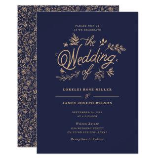 野生の花の結婚式招待状 カード