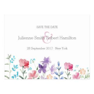 野生の花の花の結婚式の保存日付の郵便はがき ポストカード