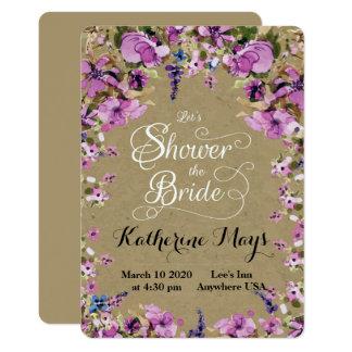 野生の花フレームのバチェロレッテ カード