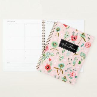 野生の花模様|のカスタム|のピンクのプランナー プランナー手帳