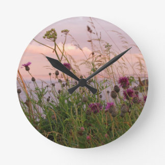 野生の花 ラウンド壁時計
