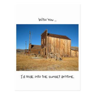 野生の西のゴーストタウン-愛ノート ポストカード