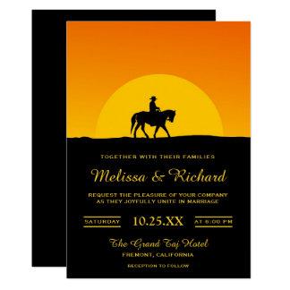 野生の西の西部の日没のカウボーイの結婚式招待状 カード