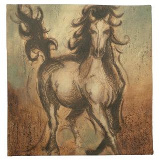 野生の馬および暖かい色 ナプキンクロス
