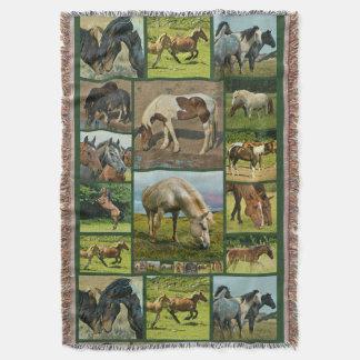 野生の馬のコラージュ スローブランケット