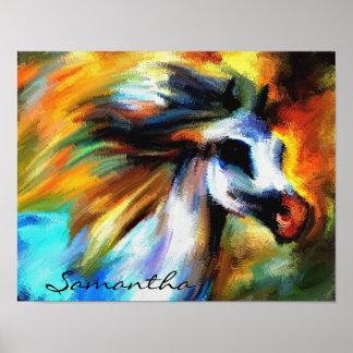 野生の馬の抽象芸術のカラフルな絵画ポスター ポスター