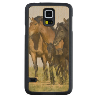 野生の馬のEquusのcaballusの)野生の馬3 CarvedメープルGalaxy S5スリムケース