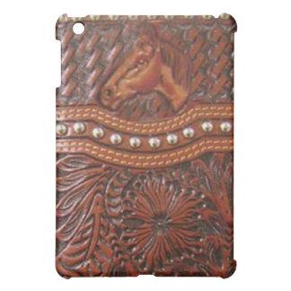 """""""野生の馬""""の用具を使われた革西部のIPadの箱 iPad Mini カバー"""