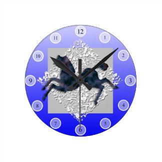 野生の馬#13 ラウンド壁時計