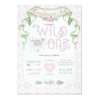 野生の1誕生日のピンクの緑の種族 カード