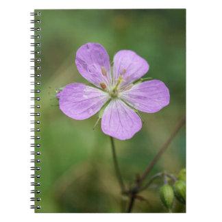 野生ゼラニウムのピンクの野生の花のノート ノートブック