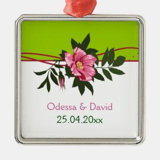 野生ピンクのバラの花の結婚式のライムグリーンの記念品 メタルオーナメント